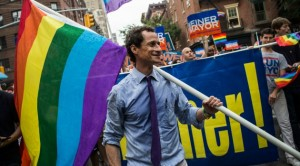 Weiner's Flag Pole Marches in the Gay Pride Parade